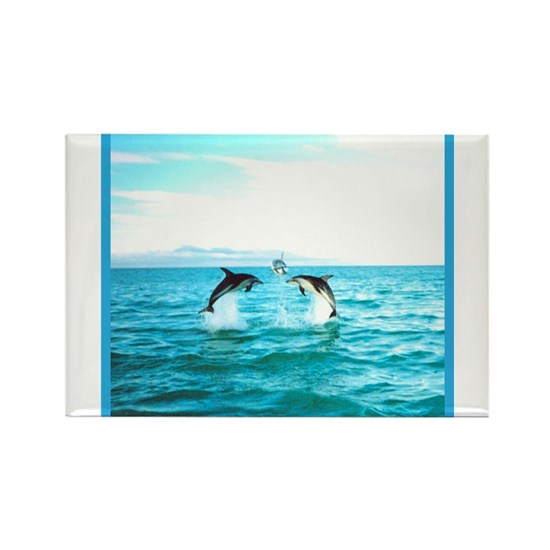 3 Jumping Dolphins Square Baby Blue Border