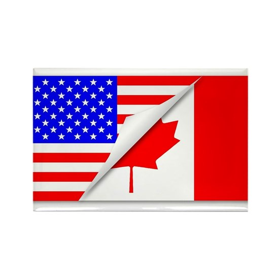 United States and Canada Flags Combined