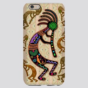 Kokopelli Rainbow Colors on Tribal Pattern iPhone