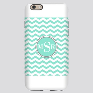 3 Letter Mint Blue-Green Gray Monogram Chevron iPh