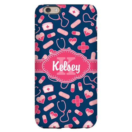 Blue and Pink Personalized Nurse Pattern iPhone 6