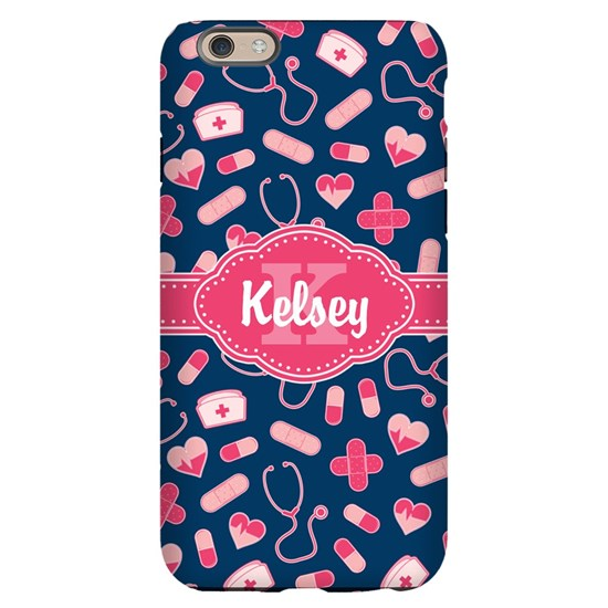 Blue and Pink Personalized Nurse Pattern