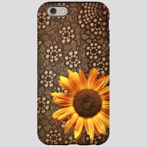 girly sunflower brown lace iPhone 6 Tough Case