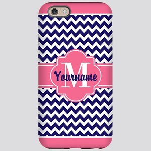 Pink Chevron Pattern with Mono iPhone 6 Tough Case