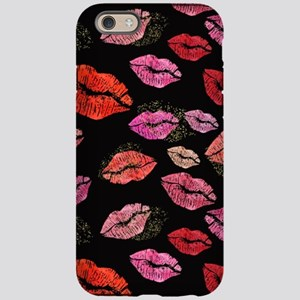29c94c0358 Pink & Red Lips on Blac iPhone 6/6s Tough Case