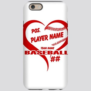 Baseball Heart Player Personalized Red iPhone 6 To