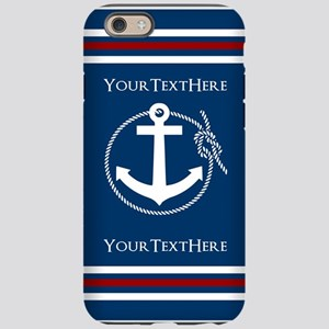 Navy Nautical Anchor and Rope Personalized iPhone
