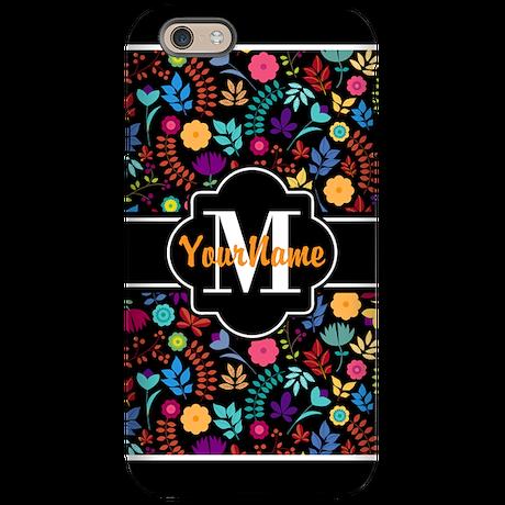 Colorful Blossoms Custom Monog iPhone 6 Tough Case