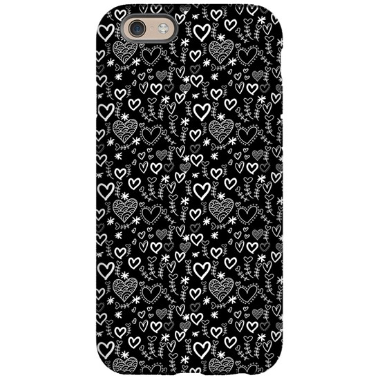 Cute Doodle Hearts Pattern Background
