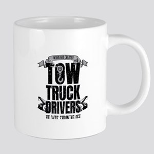 When God Created Tow Truck Driver Showing Off Mugs