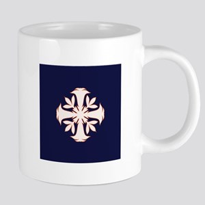 Angel Trumpet Quilt Square Blue and White Mugs