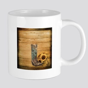 western cowboy sunflower Mugs