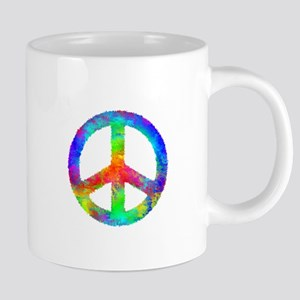Distressed Rainbow Peace Si 20 oz Ceramic Mega Mug