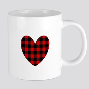 Buffalo Plaid Heart Mugs
