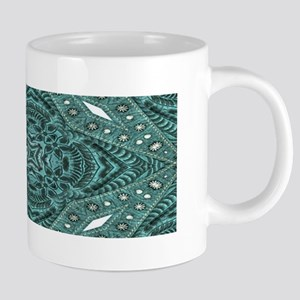 girly chic teal turquoise tooled leather pat Mugs