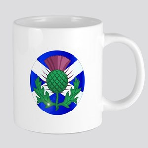 Scotish Flag And Thistle Button Mugs
