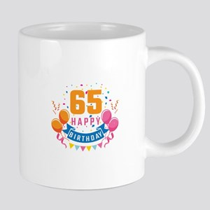 65th Birthday Balloon Banner Confetti Fun Gif Mugs