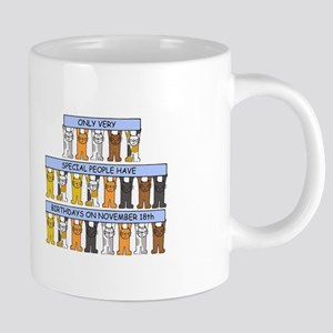 November 18th Birthday with cats. Mugs