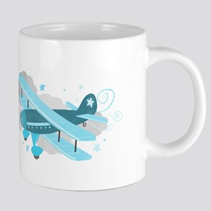 Blue Biplane Airplane in Clouds Mugs