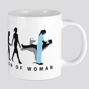 evolution of woman female dentist Mugs