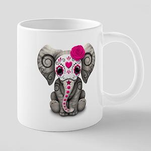 Pink Day of the Dead Sugar Skull Baby Elephant Mug