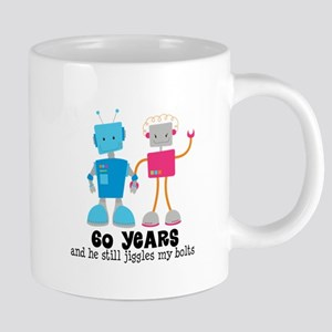 60 Year Anniversary Robot Couple Mugs