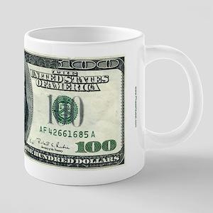 100 Dollar Bill 20 Oz Ceramic Mega Mug Mugs