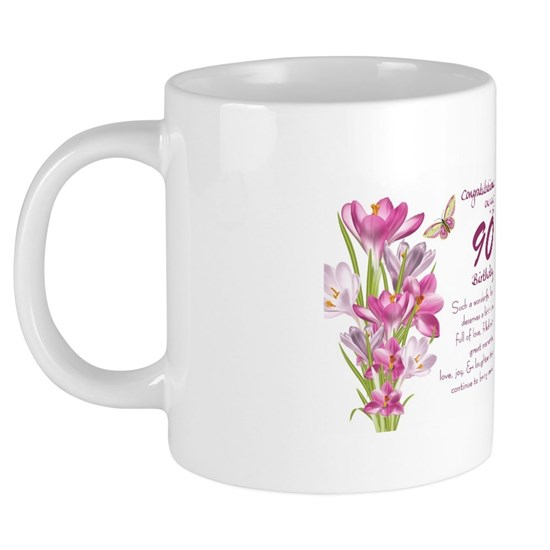 90th Birthday Butterfly And Crocus Gift Mug