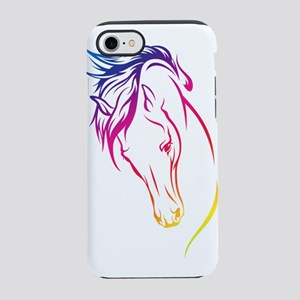 Rainbow Lines Horse Head iPhone 7 Tough Case