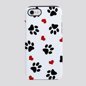 Paw Prints and Hearts iPhone 8/7 Tough Case