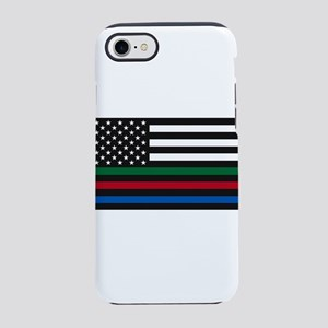 Thin Blue Line Decal - USA F iPhone 8/7 Tough Case