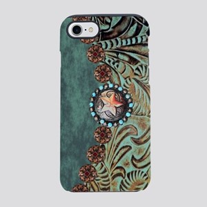 Country Western turquoise leat iPhone 7 Tough Case