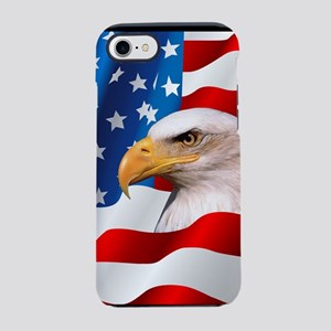 Bald Eagle On American Flag iPhone 7 Tough Case