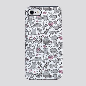 Whimsical Cartoon Cat Pattern iPhone 8/7 Tough Cas