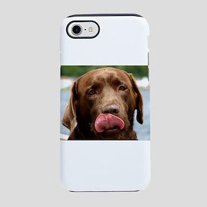 chocolate lab licking iPhone 8/7 Tough Case