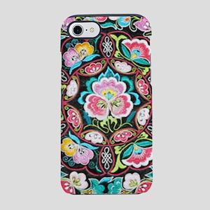 turquoise pink flowers bohem iPhone 8/7 Tough Case