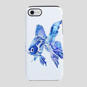 Blue Watercolor Goldfish iPhone 7 Tough Case