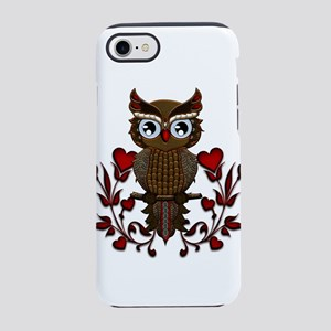 Wonderful steampunk owl on red background iPhone 8