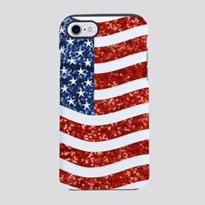 sequin american flag iPhone 7 Tough Case