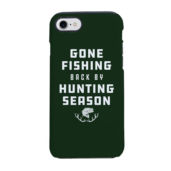 big sale a7ac1 ce8a1 Gone Fishing Back By Hunting iPhone 8/7 Tough Case