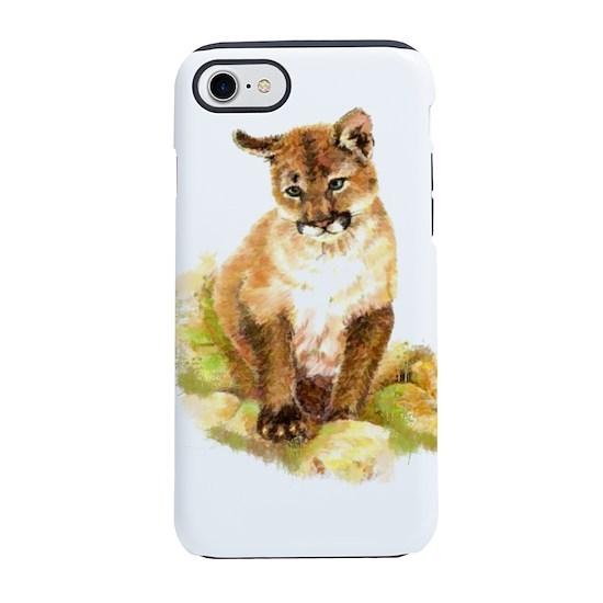 2a3b05ac543f9 Watercolor Cougar, Puma, Mountain Lion Cub iPhone