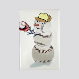 Baseball Snowman Rectangle Magnet (10 pack)