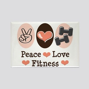 Peace Love Fitness Rectangle Magnet (10 pack)