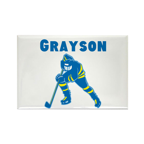 Personalized Hockey Rectangle Magnet (10 pack)