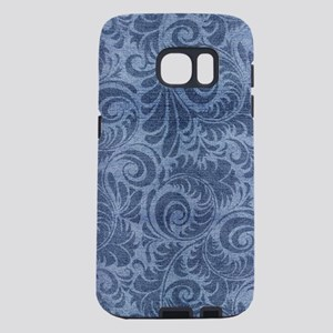 Blue Floral Denim Samsung Galaxy S7 Case