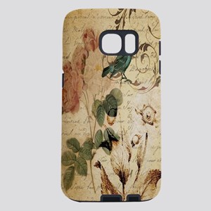 teal bird vintage roses swi Samsung Galaxy S7 Case