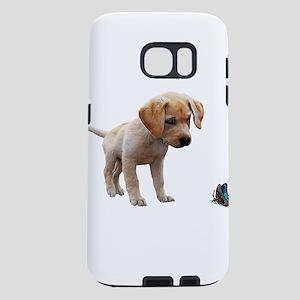 Cute Lab Puppy Eyeing Blue Samsung Galaxy S7 Case