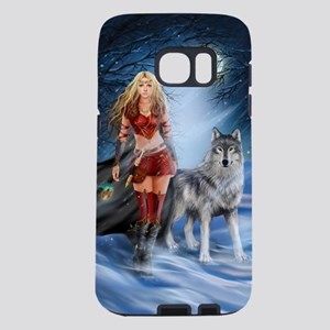 Warrior Woman and Wolf Samsung Galaxy S7 Case