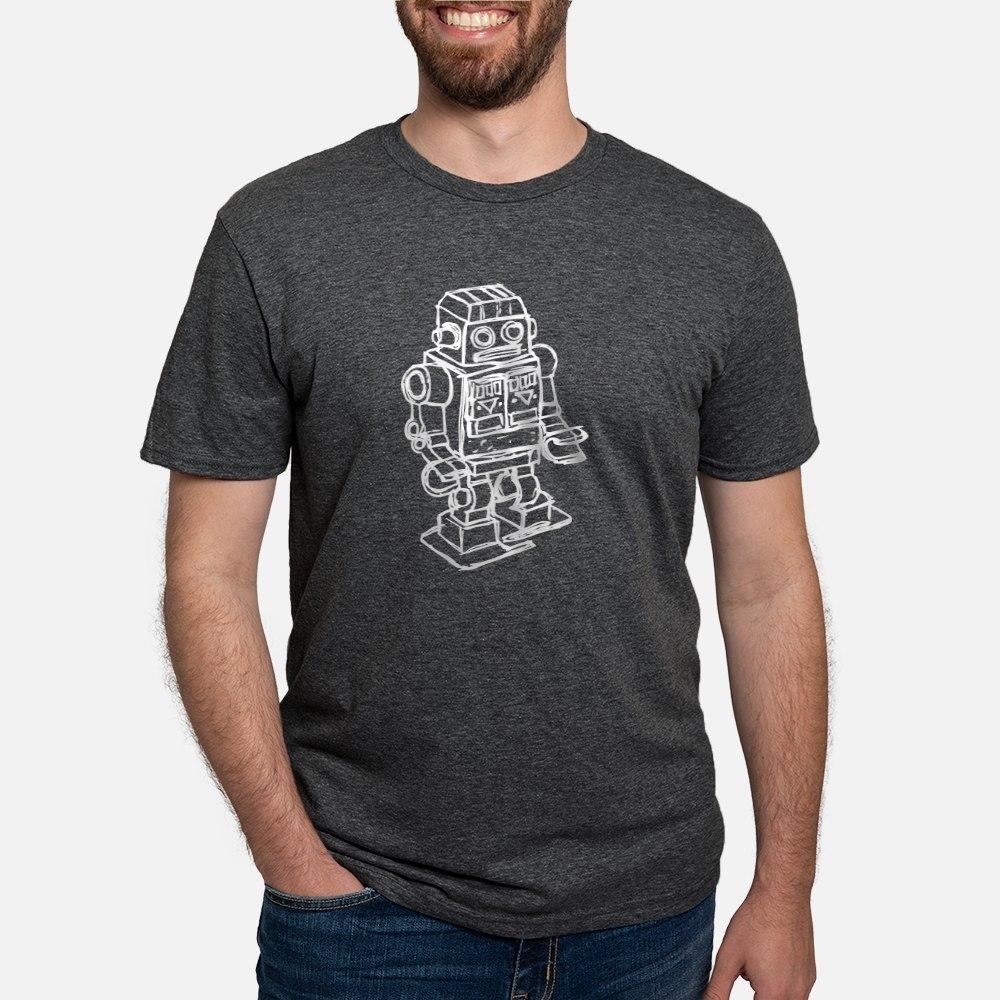 Retro Robot Sketch Tri-Blend Shirt