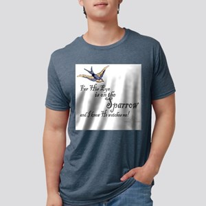 His Eye Is On The Sparrow Large Mens Tri-blend T-S